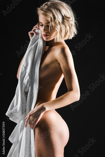 Sexy half naked woman black and white