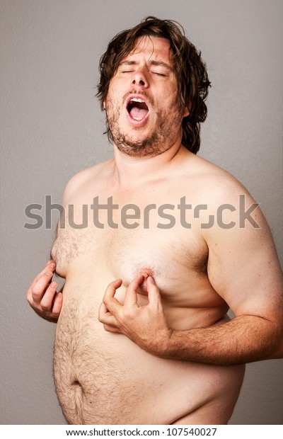 Funny obese naked adult